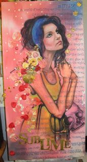 unprimed-stained canvas, applique, pastels, poetry, embroidery, oil painting
