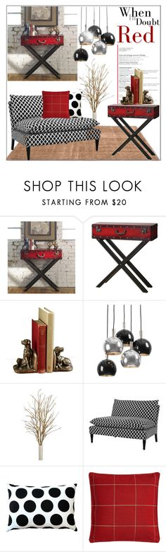 """Red Console Table"" by pat912 ❤ liked on Polyvore featuring interior, interiors, interior design, ev, home decor, interior decorating, Uttermost, Regina-Andrew Design, Eichholtz ve Pillow Decor"