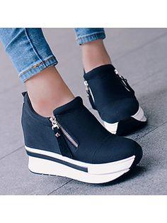 Plain High Heeled Elastic Round Toe Casual Sport Sneakers - Look Fashion Casual Sneakers, Sneakers Fashion, Casual Shoes, Fashion Shoes, Fashion Dresses, Womens Wedge Sneakers, Nike Fashion, Fashion 2018, Trendy Fashion