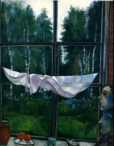 Window in the Country - Marc Chagall the cloth, the dropping, the green, everything is the pure freshness of the rain, people are so dull in comparison