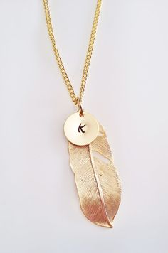 Hey, I found this really awesome Etsy listing at https://www.etsy.com/listing/217033589/gold-initial-necklace-feather-necklace