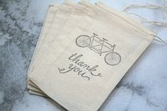 Muslin favor bags, muslin, 3x5. Set of 25. Tandem bike with Thank You in black on natural cotton.. $25.00, via Etsy.