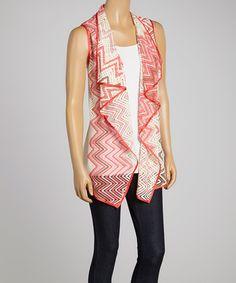 Look at this #zulilyfind! Pink & Ivory Zigzag Open Vest - Women & Plus #zulilyfinds