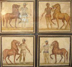 mosaicos cuádrigas, se representan los cuatro equipos de caballos. Apartado 2.