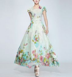 Spring summer chiffon long dress lady women clothing gown (FGK188)
