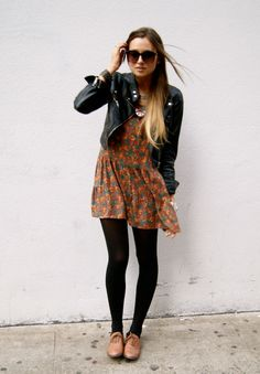 Love the entire outfit. Especially the tights with the shoes.
