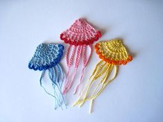 crocheted jellyfish - would like wonderful as part of an under the sea mobile