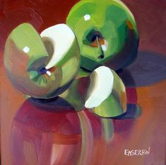 """Green Apple Slice"" by Leigh-Anne Eagerton Apple Painting, Fruit Painting, Gouache Painting, Painting & Drawing, Apple Art, Still Life Oil Painting, Still Life Art, Fruit Art, Art Club"