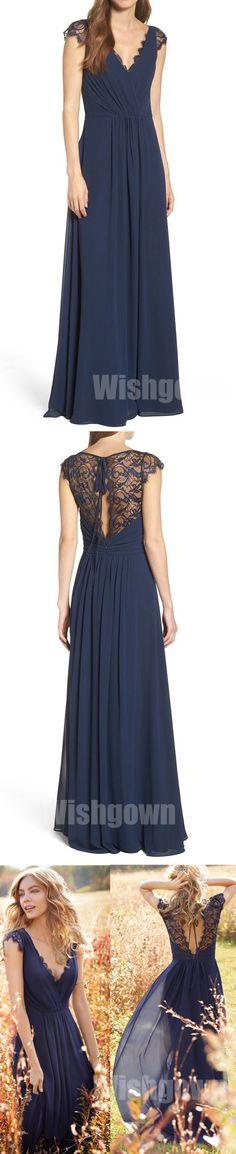 Cap Sleeves Lace Chiffon Navy Blue Elegant Long Bridesmaid Dresses, WG460 #bridesmaids #weddingpartydress