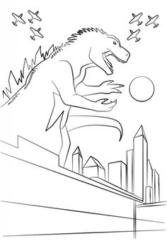 Click To See Printable Version Of Godzilla Poster Coloring Page