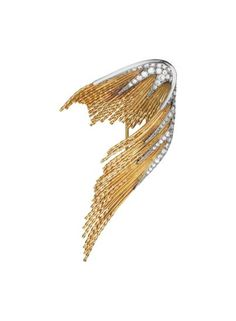 STERLÉ FOR CHAUMET A Gold and Diamond Brooch , 1960's Designed as a stylized feather of polished gold rope-twists, enhanced by circular-cut diamonds, mounted in 18K yellow