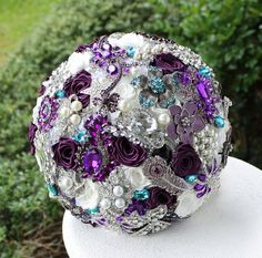 Teal and Purple Wedding Brooch Bouquet. Deposit on a made to order Heirloom Bridal Broach Bouquet. on Etsy, $75.00