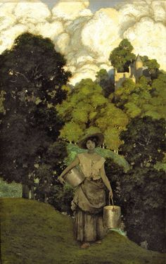 Milkmaid by Maxfield Parrish, 1901. Oil on paper | Private collection