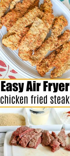 Air fryer chicken fried steak is a yummy comfort food that's great for dinner or an appetizer. Crunchy finger food that's tender inside and a gravy dip! The Typical Mom Air Fryer Recipes Chips, Air Fryer Recipes Appetizers, Air Fryer Recipes Vegetarian, Air Fryer Recipes Low Carb, Air Fryer Recipes Breakfast, Air Fry Recipes, Air Fryer Dinner Recipes, Air Fryer Rotisserie Recipes, Crockpot Recipes