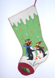 "Our 19"" long, hand crafted, layered, penguin couple felt fabric Christmas Stocking has that old fashion penguin holiday look and then some. With snowy icicles sewn into the top sleeve, snowflakes, pin"