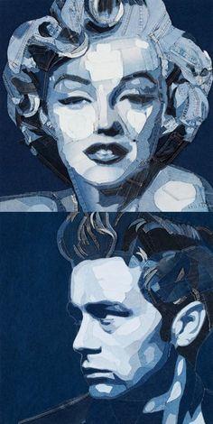 Amazing pictures made with denim Denim jeans art - Ian Berry - Denimu Marilyn Monroe. James Dean