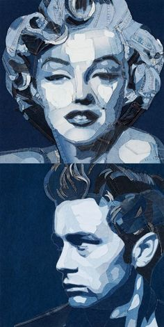 Amazing pictures made with denim Denim jeans art - Ian Berry - Denimu  Marilyn Monroe. James Dean