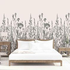 A field of flowers that creates the most showstopping wall in the room! Wallpaper Samples, Home Wallpaper, Wallpaper Designs For Walls, Textured Wallpaper, Textured Walls, Decorating Your Home, Diy Home Decor, Contemporary Home Decor, New Room