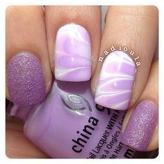 >Purple and White Watermarble Nail Design.