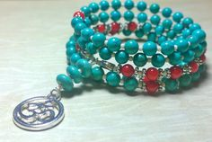 Hey, I found this really awesome Etsy listing at https://www.etsy.com/listing/183056560/108-mala-beads-turquoise-howlite-coral