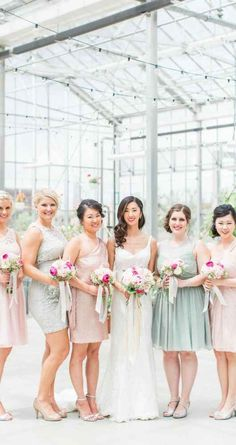Mint green and blush pink bridesmaids' dresses