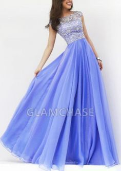 Zipper Cap Sleeve Scoop Dark Royal Blue Crystals Floor-length A-line Dresses - 1510030 - Prom Dresses