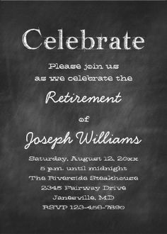 Chalkboard #retirement_party invitations