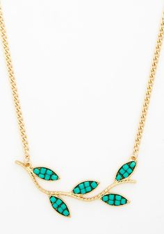 Sprig Moment Necklace - Green, Solid, Boho, Gold, Exclusives, Beads