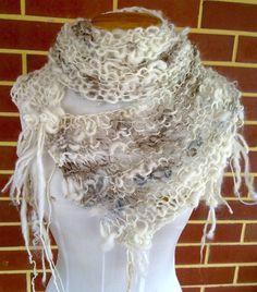SALE Assymetrical Hand Knitted Art Yarn Scarf original design by plumfish