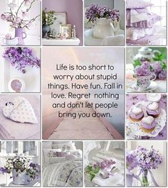 """""""Life is too short to worry about stupid things. Have fun. Fall in love. Regret nothing and don't let people bring you down."""" in lila moodboard/collage."""