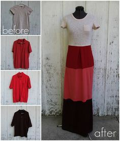 Tee shirt maxi dress DIY, this is a cute idea, don't like the top, but that could be altered to suit