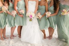 Sage bridesmaid dresses // Photographer: Amy Little Photography / Reception Venue: Palazzo Del Sol / Wedding Planner/Coordinator: Serene Occasions // See more: http://theeverylastdetail.com/rustic-chic-pink-burlap-wedding/