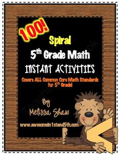 Spiral Math Instant Activities for Fifth / 5th Grade (*Common Core*) from Classroom Creations on TeachersNotebook.com (205 pages)