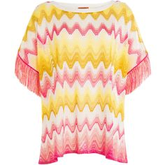 Missoni Mare Knit Tunic Top ($480) ❤ liked on Polyvore featuring tops, tunics, multicolored, relaxed fit tops, slash neck top, fringe tops, slimming tops and boat neck tunic