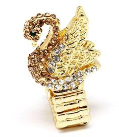 Amazon.com: Crystal Swan Stretch Ring Clear Amber 3D Bird Gold Tone Elegant Evening New: Jewelry