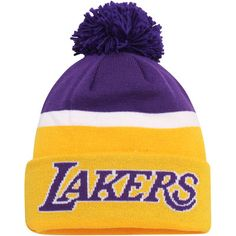 adidas Los Angeles Lakers Gold Team Nation Wordmark Cuffed Knit Hat with Pom