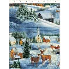 Evening has begun for this classic snow-covered village, as evidenced by lights in the steepled church, and even glowing on the buck's coat. www.americasbestthreads.com