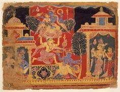 In order to mollify Satyabhama, Krishna had to steal the parijat tree from Parijata-harana Paripadal Nandanvan (the garden of the gods), folio from Bhagavata Purana, Rajasthan
