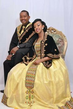 Ethiopian Wedding Attire - Explore the World with Travel Nerd Nici, one Country… African Wedding Attire, African Attire, African Wear, African Dress, African Fashion, African Women, Ghanaian Fashion, Men's Fashion, Ethiopian Wedding Dress