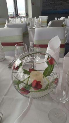 GAA theme wedding. KERRY V MAYO   TULIPS . FISHBOWL.   WWW.JACKSCROMANE.COM Fishbowl, Tulips, Our Wedding, Table Decorations, Weddings, Home Decor, Round Fish Tank, Fish Tank, Fish Bowl Vases