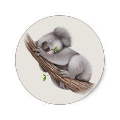 Cute sleepy Koala Bear Classic Round Sticker - animal gift ideas animals and pets diy customize Cute Koala Bear, Baby Koala, Koala Bears, Coala Tattoo, Koala Illustration, Koala Craft, Cute Cartoon Drawings, Bear Paintings, Bear Drawing