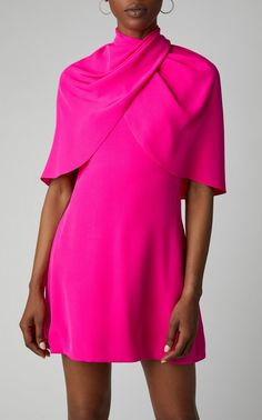 Brandon Maxwell Cape-Effect Silk-Crepe Mini Dress Size: 0 Dress Outfits, Fashion Outfits, Women's Fashion, Fashion Lookbook, Fashion Styles, Fashion Dolls, Brandon Maxwell, Ruffle Swimsuit, Silk Mini Dress