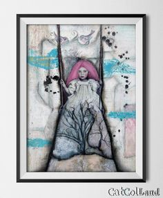 On a swing Mixed Media Collage 12x 16 original art by CatColLand