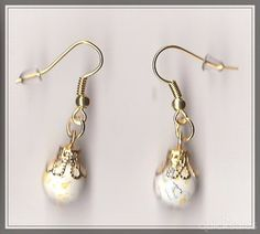 White Glass Bead Gold Plated Drop Earrings  by MadAboutIncense - $10.50