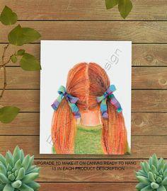 Girls Room Art, Toddler Girl Art, Little Girl Hairstyle print, Girls wall decor, Girl nursery Art, Girls room decor, Baby Girl Nursery