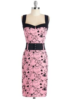 Cool Vibes Dress in Hearts. Bring a pop of playfulness to any bash with this printed sheath dress! #pink #modcloth