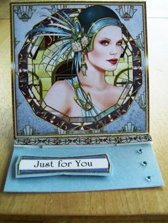 Just for you art deco card. Handmade by Lorna@exclusivelyyours.co in Scotland.