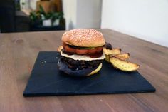 """""""Red is Dead"""" Burger: a burger with a patty made of minced duck breast, a parmesan crisp, onion and fig sauce and pickled beetroot served in a brioche bun. Burger Recipes, My Recipes, Fig Sauce, Soft Ginger Cookies, Parmesan Crisps, Beef Patty, Beetroot, Caramelized Onions, Food Styling"""