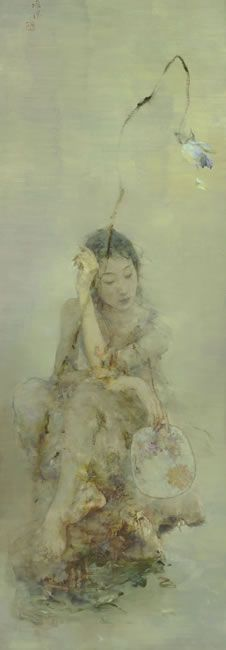 Glory by Hu Jundi (Hu Jun Di 胡峻涤) - (b. 1962), China. He has mastered the fusion of traditional Chinese brush with the unmatched depth of oil painting (happybuddhabreathing)
