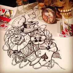 Flowers And Alice in Wonderland Tattoo Design